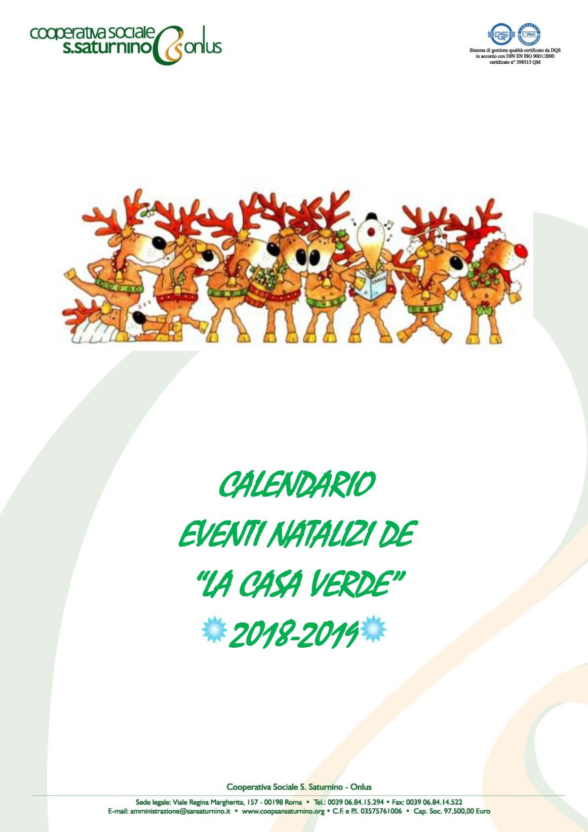 Calendario eventi Natalizi a Casa Verde