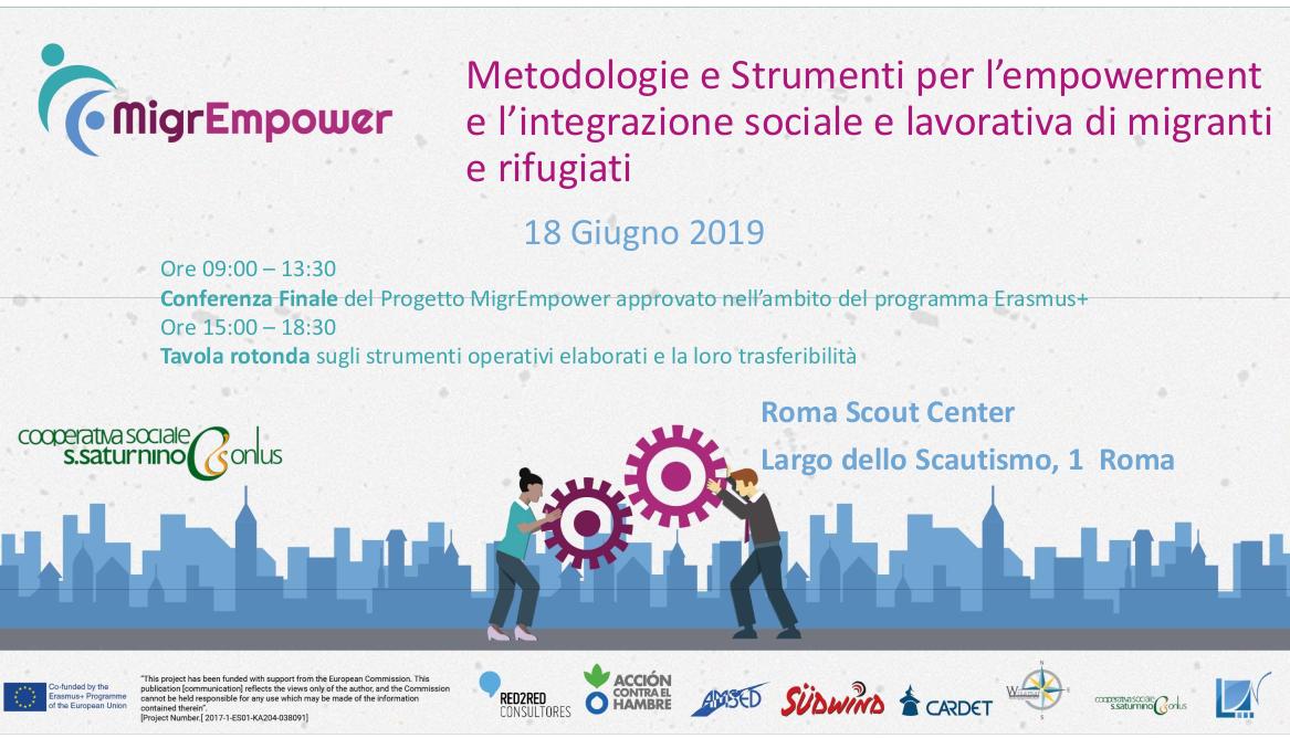 """Conferenza: """"Metodologie e Strumenti per l'empowerment e l'integrazione sociale e lavorativa di migranti e rifugiati"""""""